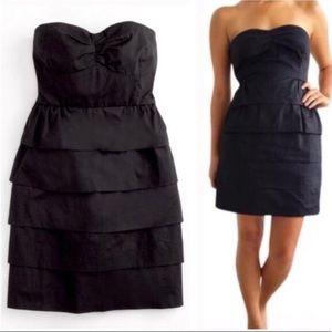 JCrew Poplin Brynn Tiered Dress In Black Size 10
